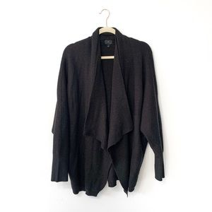 Worthington Black Long Draped Open Cardigan